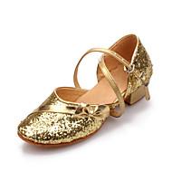 billige Moderne sko-Dame Moderne sko Paljett / Kunstlær Høye hæler Spenne Flat hæl Kan ikke spesialtilpasses Dansesko Sølv / Blå / Gull