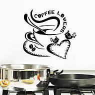 preiswerte -Wandaufkleber Wandtattoos Stil Kaffeeliebhaber Englisch Worte PVC-Wandaufkleber