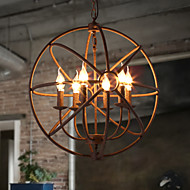 Sitting Room Lights Nordic Country, Wrought Iron American Retro Candle Chandelier The Black Chandelier Villa