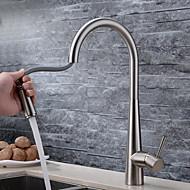 preiswerte Küchenarmaturen-Moderne Pull-out / Pull-down deckenmontiert Mit ausziehbarer Brause Keramisches Ventil Ein Loch Einhand Ein Loch Gebürstet, Armatur für
