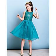 Linea-A Con decorazione gioiello Al ginocchio Chiffon / Con strass Abiti da damigella bambina con Lustrini di LAN TING BRIDE®
