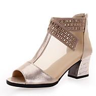 billige Moderne sko-Dame Moderne Ballett Lær Sandaler utendørs Glidelås Tykk hæl Svart Gull Kan ikke spesialtilpasses