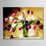 Oil Painting Tulip Flower Abstract Hand Painted Canvas with Stretched Framed
