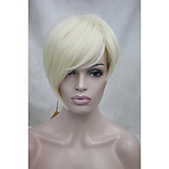 Synthetic Wig Women's Straight Blonde Asymmetrical / With Bangs Synthetic Hair Side Part Blonde Wig Short Capless Bleached Blonde
