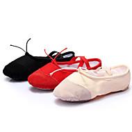 Dame Ballett Lær Lerret Flate Snøring Flat hæl Svart Rød Beige 1 cm Kan ikke spesialtilpasses