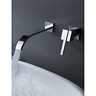 cheap Discount Faucets-Bathtub Faucet - Contemporary Chrome Wall Mounted Ceramic Valve