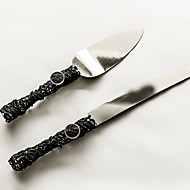 Serving Sets Wedding Cake Knife  Accessories Handle Cake Knife And Server Set with Lace,Black