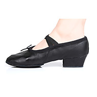 "Women's Ballet Leather Leatherette Heel Practice Beginner Professional Indoor Outdoor Chunky Heel Black Red 1"" - 1 3/4"" Customizable"