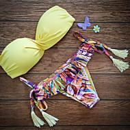 Žene Najlon Push-up Grudnjak sa žicom Bikini S resicama Jednobojni Boho Print