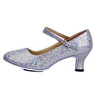 billige Moderne sko-Dame Moderne Ballett Glimtende Glitter Paljett Høye hæler Trening Nybegynner Innendørs Spenne Lav hæl Rød Rosa Sølv Blå Gull 4 cm Kan