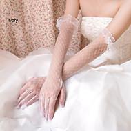 abordables Gants de Mariage-Polyester Coton Filet Longueur Poignet Gant Charme Elégant Gants de Mariée With Acrylique Broderie Couleur Unie