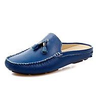 cheap Men's Clogs & Mules-Men's Shoes Leather Spring / Summer Comfort Clogs & Mules Black / Brown / Blue / Tassel