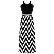 Dámské Dovolená Swing Šaty - Proužky Maxi Ramínka Černá a Bílá