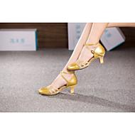 baratos Sapatilhas de Dança-Mulheres Sapatos de Dança Moderna / Dança de Salão Couro Sintético Salto Alto / Sandália / Salto Flor de Cetim / Gliter com Brilho / Presilha Salto Cubano Não Personalizável Sapatos de Dança Preto