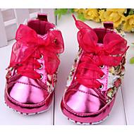Para Meninas Bebê Rasos Primeiros Passos Couro Envernizado Primavera Outono Casual Social Primeiros Passos Flor Vermelho Rosa Púrpura