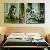 Olieverfschilderij Abstracte handgeschilderd doek met uitgestrekte framed - Set of 2