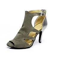 "Women's Latin Salsa Suede Sandal Indoor Buckle Stiletto Heel Grey 3"" - 3 3/4"" Non Customizable"