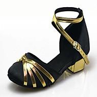 """billige Moderne sko-Dame Barne Moderne Paljett Sateng Høye hæler Innendørs Nybegynner Trening Spenne Lav hæl Gyldenbrun Rød Blå Under 1 """" Kan ikke"""