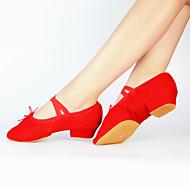 baratos Sapatilhas de Dança-Mulheres Sapatilhas de Balé Lona Meia Solas Salto Robusto Não Personalizável Sapatos de Dança Preto / Vermelho / Rosa