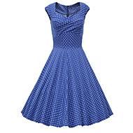Dámské Jdeme ven Vintage Šik ven Bavlna A Line Šaty - Puntíky, Tisk Délka ke kolenům Srdcový výstřih Modrá