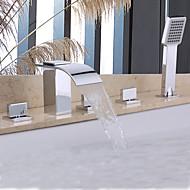 cheap Bathtub Faucets-Bathtub Faucet - Contemporary Chrome Tub And Shower Ceramic Valve