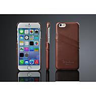 Capinha Para iPhone X iPhone 8 iPhone 8 Plus iPhone 6 iPhone 6 Plus Porta-Cartão Capa Traseira Côr Sólida Rígida Couro Legítimo para