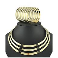 Damen Schmuck-Set Armband / Halsketten - Breiter Armreif / Retro / Party Kreisform Gold Schmuckset Für