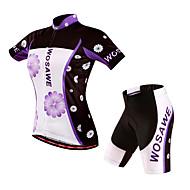 WOSAWE Žene Kratkih rukava Biciklistička majica s kratkim hlačama Cvjetni / Botanički Bicikl Kratke hlače Podstavljene kratke hlače