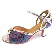 Kan spesialtilpasses-Dame-Dansesko-Latinamerikansk-Lakklær Glimtende Glitter-Kustomisert hæl-Flerfarget