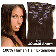 18inch 7pcs / set 120g clip-in hair human hair extensions 12 kleuren voor vrouwen schoonheid