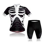 WOSAWE Kratkih rukava Biciklistička majica s kratkim hlačama - Crno bijela / Lubanje Bicikl Kompleti odjeće, Quick dry, Prozračnost,