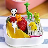 10pcs פירות המזון מן החי kawaii בצורת בנטו חיה מרים מזלגות כלי העיצוב צהריים תיבת אביזר (צבע אקראי)
