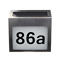 Solar House Number Sign Rechargeable Stainless Steel LED Doorplate Light