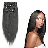 Clip In Hiukset Extensions Suora Aidot hiukset Jet Black