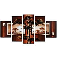 halpa -Maalattu Abstrakti Mikä tahansa muoto Kangas Hang-Painted öljymaalaus Kodinsisustus 5 paneeli