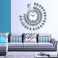 baratos -requintado relógio de parede design do pavão moderno - azul + preto