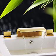 お買い得  TI-PVD Series-バスルームのシンクの蛇口 - 滝状吐水タイプ Ti-PVD 組み合わせ式 三つ / 二つのハンドル三穴 / 真鍮