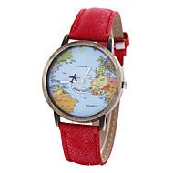 Mulheres Relógio de Moda Bracele Relógio Quartzo Padrão Mapa do Mundo PU Banda Vintage Preta Branco Azul Vermelho Marrom Cáqui
