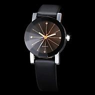 Erkek Kadın's Çiftlerin Elbise Saat Moda Saat Bilek Saati Quartz Taşlı imitasyon Pırlanta PU Bant Siyah