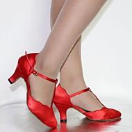billige Kustomiserte dansesko-Dame Moderne Sateng Høye hæler Sandaler Innendørs Nybegynner Spenne Snøring Kustomisert hæl Svart Rød Kan spesialtilpasses