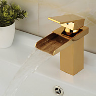 Contemporary Centerset Waterfall Ceramic Valve One Hole Single Handle One Hole Ti-PVD , Bathroom Sink Faucet