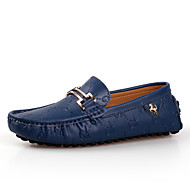 cheap Men's Leather Shoes-Men's Shoes Leather Spring / Fall Comfort Loafers & Slip-Ons White / Black / Blue / Leather Shoes