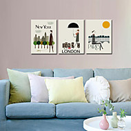 cheap Prints-VISUAL STAR®Wall Decoration Art Print Poster London/New York/Paris Cartoon Decoration Picture Canvas set of 3