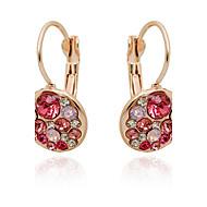 Žene Sintetički dijamant Okrugle naušnice - Ružičasto zlatno, Kubični Zirconia, Imitacija dijamanta Moda zaslon u boji Za Dnevno