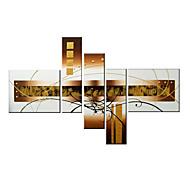 Hånd-malede Abstrakt / FantasiModerne Fire Paneler Canvas Hang-Painted Oliemaleri For Hjem Dekoration