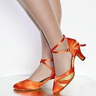 billige Moderne sko-Kan spesialtilpasses Dame Moderne Sateng Kunstlær Høye hæler Sandaler Nybegynner Innendørs Paljetter Spenne Snøring Kustomisert hælBronse