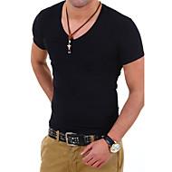 Tee-shirt Grandes Tailles Homme, Couleur Pleine - Coton Sports / Travail Col en V Mince / Manches Courtes