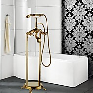 cheap Ti-PVD Series-Art Deco/Retro Floor Mounted Floor Standing Ceramic Valve One Hole Three Handles One Hole Ti-PVD, Bathtub Faucet