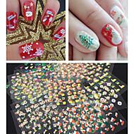 30 pcs 3D Negle Stickers Negle kunst Manicure Pedicure Smuk Abstrakt / Tegneserie / Mode Daglig / 3D Nail Stickers