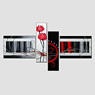 billiga Blom-/växtmålningar-Hang målad oljemålning HANDMÅLAD - Abstrakt Moderna Europeisk Stil Med Ram / Fyra paneler